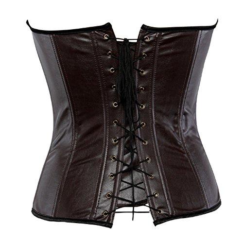 Buckle-up Steampunk Corset Women Shapewear Bustier Bodysuit Brown