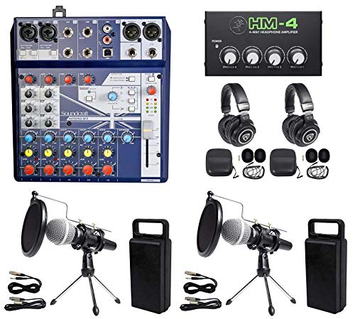 (2 Person Podcasting Podcast Kit Soundcraft Mixer+Headphones+Mic+Stand)
