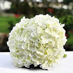Enova Home Artificial Silk Hydrangea Bouquet Pack of 3 for Flower Arrangement,Wedding Home Decoration (Cream) 99