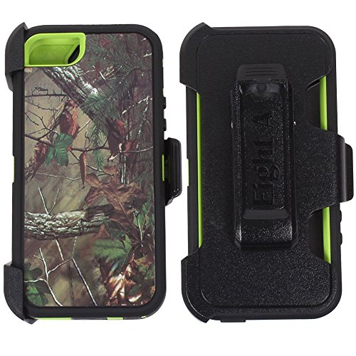 (Heavy Duty Impact Rugged with Built-in Screen Protector Camouflage Case Cover with Clip for Apple iPhone 5/5S/SE (Green-Tree-Camo))