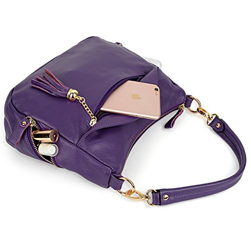 purple Genuine Tassel Medium Elegant 2003 Purple Leather Bags Size Ladies Yaluxe Handbag Shoulder pxYEqZw7E