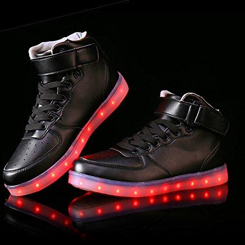 Sneaker Lights Matari High Top Shoes USB Up Flashing Black Unisex Charging Lovers LED PrWPTqp0