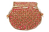 Indian sequence Potli Bag/ wedding purse/jewelery purse for girls & women (Base Color- Dark Cerise))