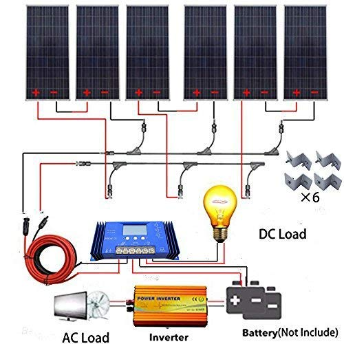 ECO LLC 900W 24V Off Grid Solar System kit 6x150W Solar Panel + 1500W 24V Pure Sine Inverter