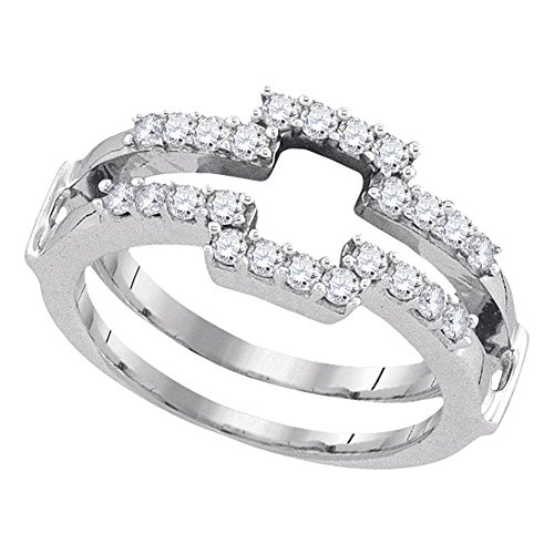 Roy Rose Jewelry 14K White Gold Womens Round Diamond Square Wrap Ring Guard Enhancer Wedding Band 1/2-Carat (White Diamond Square Ring)