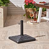 Great Deal Furniture Amaryllis | Outdoor Concrete Square Umbrella Base | 26LBS | in Hammered Iron