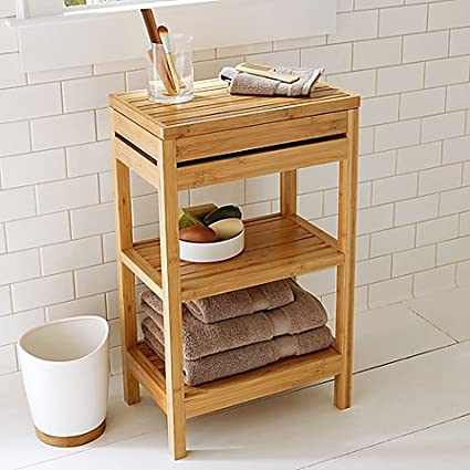 Hinged Top And Two Open Shelves Small Bathroom Bamboo Floor Cabinet In Warm  Natural Finish