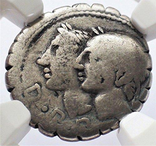 IT c. 106 BC Ancient Rome Roman Republic Authentic Antique Silver Coin AR Denarius Serratus Very Good NGC Ancient Roman Silver Coins