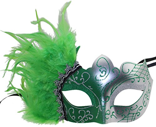 Masquerade Mask Venetian Party Mask with Feathers Opera Halloween - Green Mask Feather