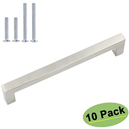 Homdiy Square Cabinet Pulls Brushed Nickel 10 Pack Hdj12sn 5 Inch
