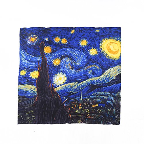 Silk Scarfs Women Square Silk Scarf for Hair, 100% Pure Silk Head Scarf for Women Hand Rolling Edge 35''x35'' (Van Gogh's Starry Night)