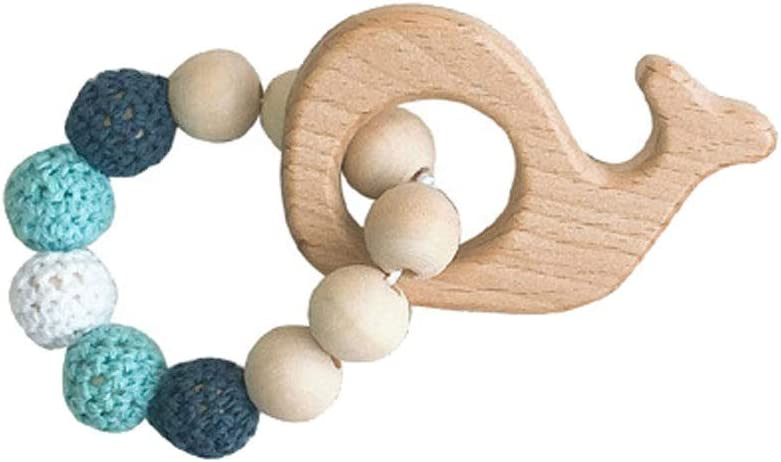 smallwoodi Bangle Bracelet Wooden Beads Ring Baby Fish Whale Flower Teether Chewing Chain Bracelet Band Toy Jewelry for Men for Women