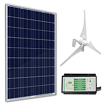 ECO-WORTHY 12 Volts 500 Watts Wind Solar Generator: 12V/24V 400W Wind Turbine + 12V 100W Polycrystalline Solar Panel + 24cm Cable with MC4 Connector