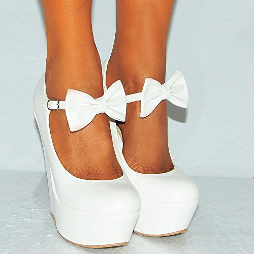 Ladies White Pu faux Leather Bow Ankle Strap Mary Janes Wedged