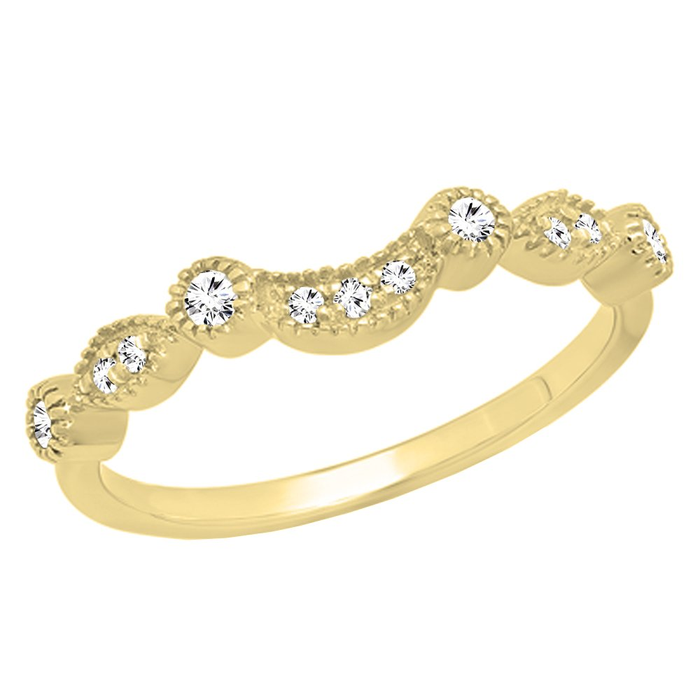 Dazzlingrock Collection 0.15 Carat (ctw) 14K Round Cut Diamond Wedding Stackable Contour Guard Band, Yellow Gold, Size 7.5 by Dazzlingrock Collection