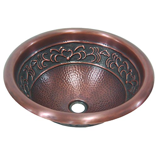 Yosemite Home Decor CSB1256 16-Gauge Leaf Design Topmount Round Vessel Sink, 15-3/4-by-15-3/4-by-6-Inch, Solid Copper by Yosemite Home Decor