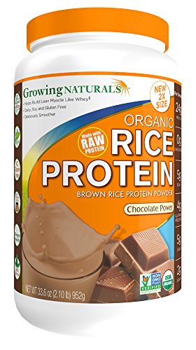(Growing Naturals Organic Rice Protein Powder, Chocolate, 952 Gram)