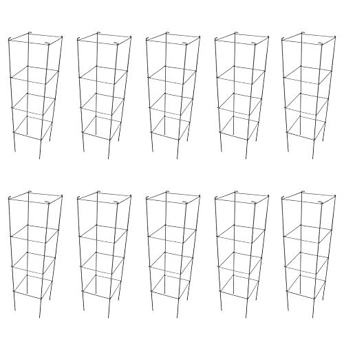 MTB Galvanized Square Folding Tomato Cage Plant Support Stake Tower 12 inch by 46 inch, Pack of 10 Sets(Also Sold as Pack of 2 & 5,PVC Green is Available)