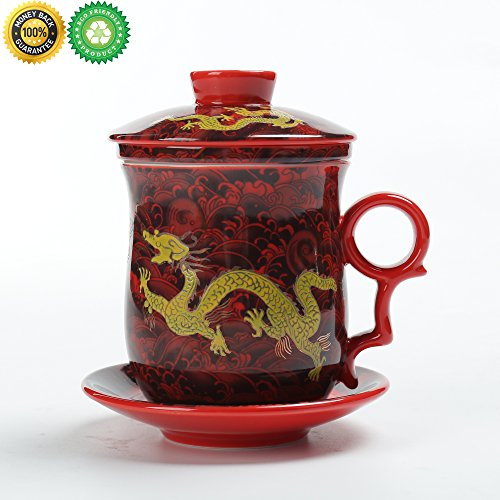 Chinese Tea-Mug(10.5oz) with Strainer and Lid and Saucer.4 Piece Set,TEANAGOO-Neptune,Japan Ceramic Large White Steeper Diffuser System,Filter/Steeper/Infuser,Women Mom Gift Red,China Infused Tea Cup