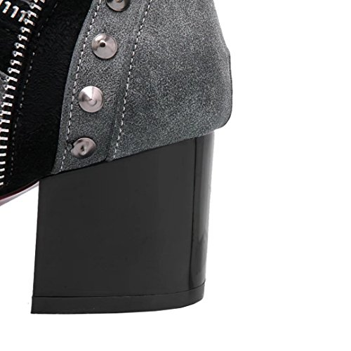 Aiyoumei Femmes Bout Pointu Bloc Talon Botie Automne Hiver Bottines Avec Rivets Gris