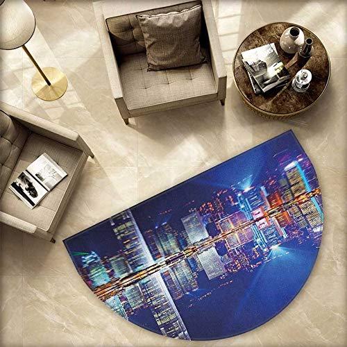 City Semicircle Doormat Hong Kong Island from Kowloon Vibrant View Water Reflection Modern China Halfmoon doormats H 66.9