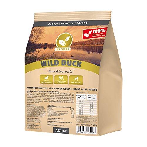 Hundeland Natural | Wild Duck | 1 kg | Ente + Kartoffel | getreidefreies Hundefutter | Trockenfutter für alle Hunderassen | viel frisches Fleisch | artgerecht & besonders gut verträglich
