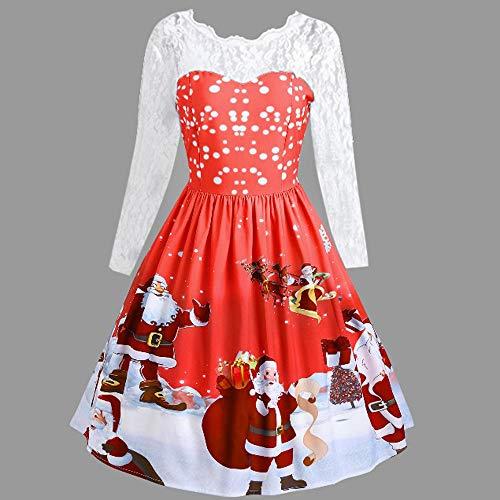 Christmas Lace Dress,Anboo Christmas Women Long Sleeve Lace