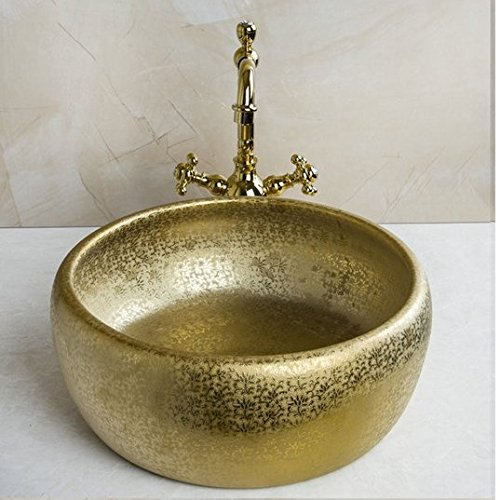 GOWE Double Handle Faucet Round Paint Golden Bowl Sinks / Vessel Basins Washbasin Ceramic Basin Sink & Faucet Tap Set 0