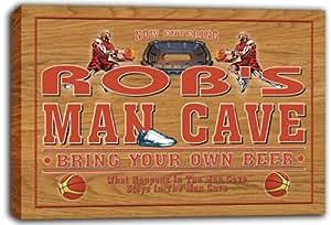 scqc1–0601Rob de baloncesto Man Cave cerveza Pub cartel de impresión de Lienzo