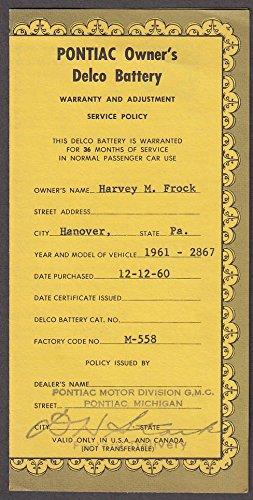 - 1961 Pontiac Bonneville Convertible Delco Battery Warranty