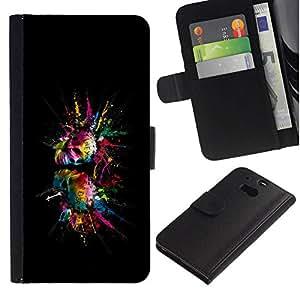 All Phone Most Case / Oferta Especial Cáscara Funda de cuero Monedero Cubierta de proteccion Caso / Wallet Case for HTC One M8 // Color Splash Skulls Skull
