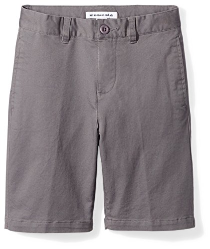 Amazon Essentials Big Boys' Flat Front Uniform Chino Short, Gray,7 -
