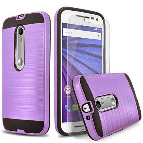 Droid Maxx 2 Case, 2-Piece Style Hybrid Shockproof Hard Case Cover + Circle(TM) Stylus Touch Screen Pen And Screen Protector (Violet Purple)