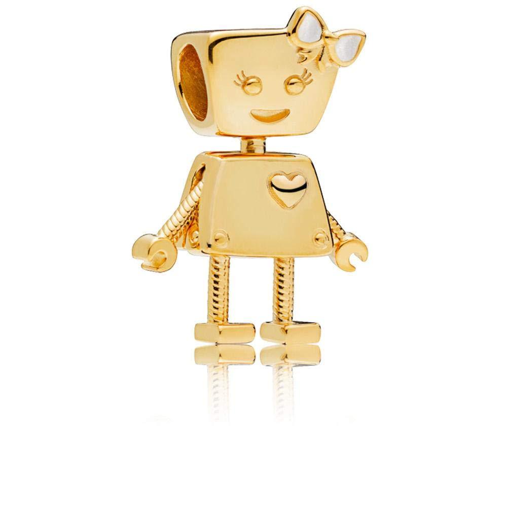 PANDORA Bella Bot Silver Enamel 18k Gold Plated Shine Collection Charm - 767141EN23
