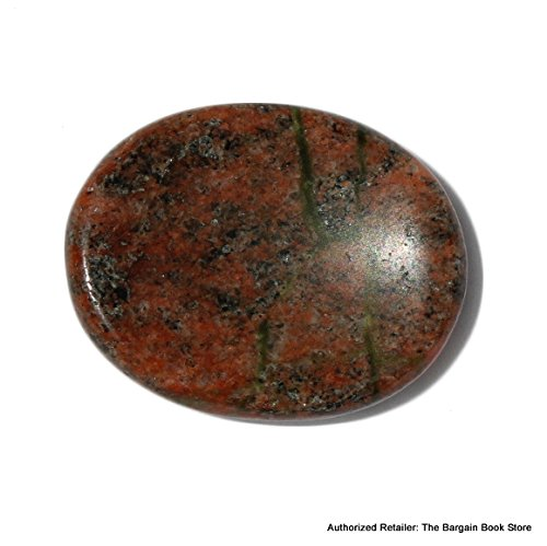 Unakite Worry Stone with Velvet and Satin Pouch - Spiritual Gemstone Crystal Healing Meditation Made From Natual Occuring Red Jasper and Green (Unakite Green)