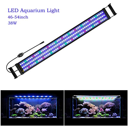 (Joyhill LED Full Spectrum Aquarium Lights,Fish Tank Light with Extendable Brackets,Suitable for Aquatic Reef Coral Plants and Fish Keeping 38W (Fit 116cm-136cm/46-54)