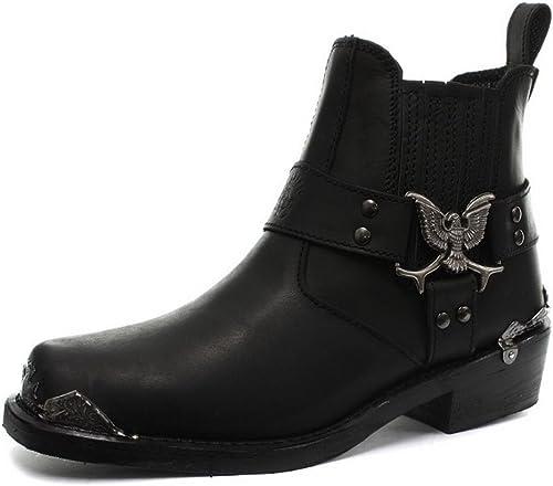 Cuir véritable Goth Rock Bottines Punk Boots Noir Homme 1TFJK3lc