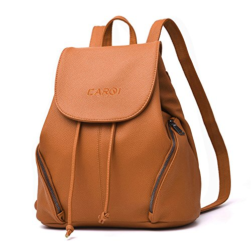 CARQI Leather School Backpack Waterproof Casual Daypack 13quot X 47quotx 164quot Brown