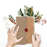 Store Indya Handmade Genuine Leather Jute Journal Eco-Friendly Unlined Pages Compact Travel Diary Writing Journal for Men & Women (8 x 6 Inch) Seal Wax Stamp Design