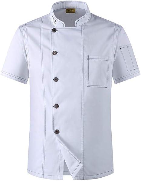 Best 4U Cocinero Unisex Ropa de Hombre de Un Solo Pecho Cocina Cocinero Uniforme de Manga Corta Restaurante Panadería Camarero Tops Camisa,White,XXL: Amazon.es: Deportes y aire libre