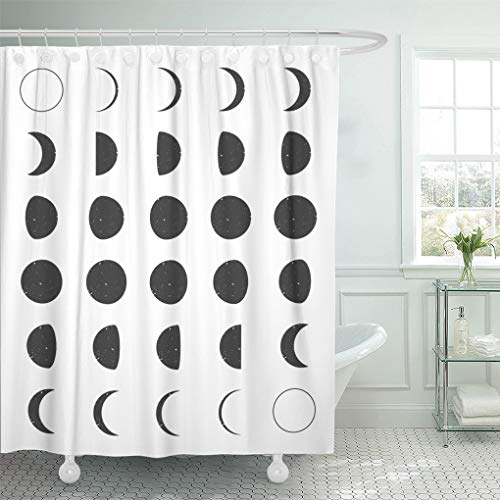 Semtomn Home Bathroom Decorative Shower Curtain Cycle Lunar Moon Phases Eclipse Calendar Crescent Symbol Astrology 72x72 Inch Waterproof Bathroom Decor Set with Hooks