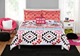 N2 3 Piece White Fiesta Mexican Pattern Comforter Twin XL Set, Bohemian Tribal Bedding Southwest Aztec Black Orange Red Blue Triangles Native American Textiles, Reversible Solid Coral, Cotton