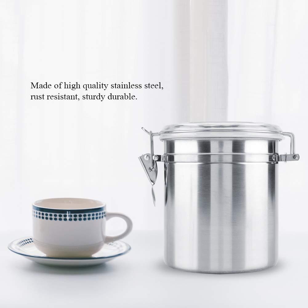 Contenitore del Caff/è Acciaio Inossidabile Contenitore del Chicco di Caff/è Vaso di Conservazione Ermetico Sotto Vuoto Vaso Sigillato Barattoli per Zucchero T/è Stagionatura 800ml