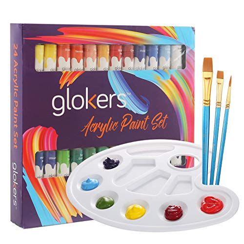 Acrylic Paint Set by glokers - 24 Rich Pigments Colors - Perfect for Canvas, Wood, Ceramic, Fabric. Non Toxic & Vibrant Colors. Painting Art Kit for Beginners, Adults, Students Or Professionals.