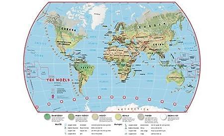Childrens World Wall Map Large Environmental Terrain Laminated - Large world map pinboard