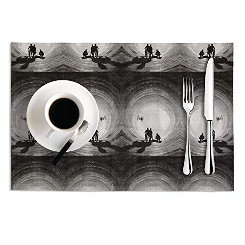 Octayi Placemats Set of 2 Heat Insulation Stain Resistant Placemat for Dining Table Skateboarding Silhouette Crossweave Woven Vinyl Washable Table Mats