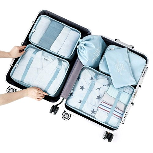Clothes Travel Luggage Organizer Pouch (Light Blue) Set of 6 - 6