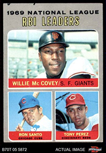 (1970 Topps # 63 NL RBI Leaders Willie McCovey/Tony Perez/Ron Santo Giants/Cubs/Reds (Baseball Card) Dean's Cards 2 - GOOD Giants/Cubs/Reds)