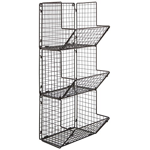 Rustic Brown Metal Wire 3 Tier Wall Mounted Kitchen Fruit Produce Bin Rack Bathroom Towel