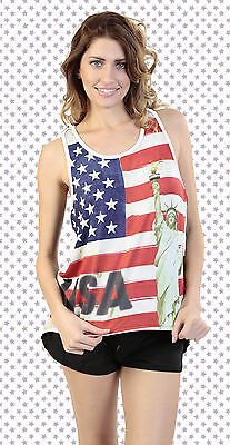 [Women's Juniors American Pride USA Flag Statue of Liberty TANK TOP: WHITE (MEDIUM)] (Confederate Flag Halloween Costume)